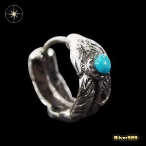 フェザーターコイズピアス(3)ターコイズ/(メイン)・片耳売り・シルバー925銀・ピアス・イヤリング・羽根・天然石・|0001pppcom
