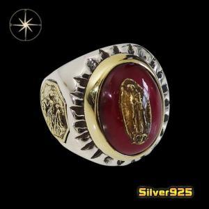 good vibrations(GV)グアダルーペマリアリング(5)SV+B (メイン) シルバー925 銀メンズ指輪 リングマリア|0001pppcom