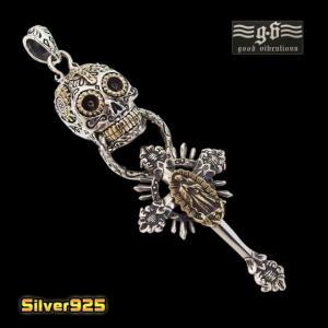 good vibrations(GV)シュガースカルの十字架ペンダント(2)SV+Bマリア メイン シルバー925 銀メンズペンダントトップ|0001pppcom