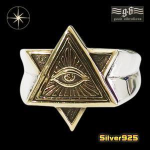 good vibrations【GV】プロビデンスの目の指輪(6)SV+B17号フリーサイズ/【メイン】 フリーメイソン メンズ   指輪 シルバー925銀 goodvibrations|0001pppcom