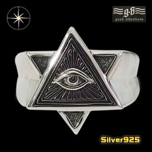 good vibrations(GV)プロビデンスの目の指輪(6)銀フリーサイズ (メイン) フリーメイソン メンズ   指輪  シルバー925 銀 goodvibrations good vibrations|0001pppcom