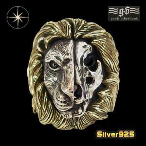 good vibrations【GV】ライオンリング(1)SV+B17号18号19号20号21号22号23号24号25号/【メイン】 動物 獅子  メンズ 指輪 シルバー925銀 goodvibrations|0001pppcom