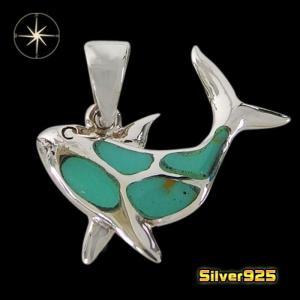 イルカのペンダント(4)ターコイズ/【メイン】 イルカ 動物 ターコイズ  ペンダント・ネックレス シルバー925銀 レディース メンズ|0001pppcom