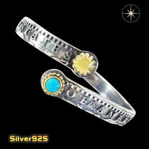 コインバングル(1)SV+Bターコイズ メイン 銀貨 コイン ターコイズ シルバー925 銀 メンズ|0001pppcom