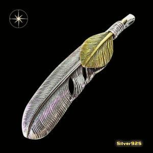 フェザーペンダント(22)左側/【メイン】シルバー925銀ペンダントネックレス羽根フェザーイーグル|0001pppcom