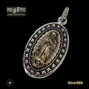 goodvibrations【GV】グアダルーペマリアペンダント(5)SV+B(メイン)シルバー925製/銀/聖母マリアスタッズメンズ・レディースgood vibrations|0001pppcom