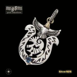 goodvibrations【GV】ココペリのホースシューペンダント(2)SV+Bロンドンブルートパーズ(メイン)シルバー925ココペリ馬蹄・蹄鉄good vibrations|0001pppcom
