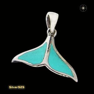 イルカのしっぽ(6)ターコイズ(メイン)シルバー925製/銀/ターコイズ天然石パワーストーンペンダント動物魚メンズ・レディース|0001pppcom