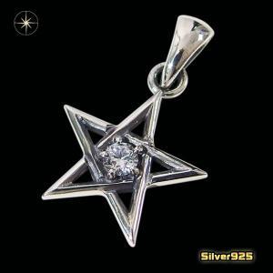 スターペンダント(15)CZ(メイン)シルバー925製 銀 スター星流星メンズ レディース|0001pppcom
