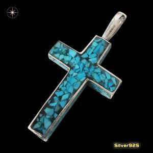ターコイズクロス(9)(メイン)シルバー925製/銀/クロス十字架キリストターコイズ天然石パワーストーンペンダントメンズ・レディース|0001pppcom