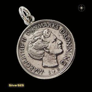 本物のデンマークのコインペンダント(4)(メイン)シルバー925製/銀/硬貨メンズ・レディース|0001pppcom