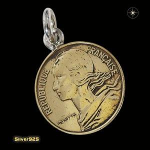 本物のフランスのコインペンダント(5)(メイン)シルバー925製/銀/硬貨メンズ・レディース|0001pppcom