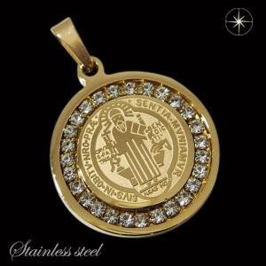 ステンレスペンダント 聖ベネディクトゥスのコイン(5)ゴールド CZ(メイン)サージカルステンレス316L クロス十字架ペンダントメンズ レディース|0001pppcom