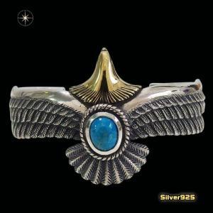ネイティブイーグルのバングル(3)SV+Bターコイズ(メイン)シルバー925製/銀/ターコイズ天然石パワーストーンメンズ・レディース|0001pppcom