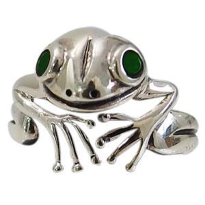 カエルの指輪(6)グリーンCZ07号から25号 シルバー925 銀 メンズ レディース 送料無料 アクセサリー 蛙 かえる   指輪 リング|0001pppcom