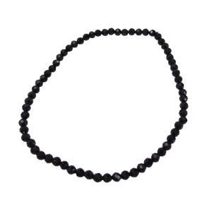 ブラックスピネルカット4mmブレスレット  サイズ選択可14cm 16cm 18cm ブレスレット 銀  天然石 ブラックスピネル   メンズ レディース|0001pppcom