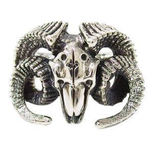 ヤギのスカルの指輪(2) メイン 17号 19号 21号 23号 25号 シルバー925 銀 メンズ レディース リング バフォメット ドクロ 山羊|0001pppcom