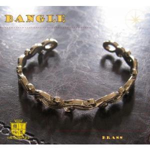 ブラスデザインバングル(2)/(メイン)金色・真鍮製(ブラス製)・唐草|0001pppcom