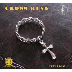 十字架が揺れる指輪(1)05号・07号・09号・11号・13号・17号・19号・21号/23号/(メイン)シルバー925製指輪リング銀十字架クロス|0001pppcom