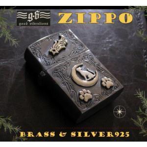 【GV】ZIPPOライター・ネコと三日月・肉球/(メイン)金色・真鍮製(ブラス製)・シルバー925製銀・動物good vibrations|0001pppcom