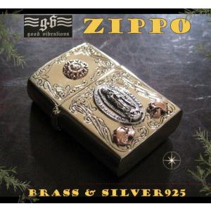 【GV】ZIPPOライター・マリアプレート(1)SV+B/(メイン)金色・真鍮製(ブラス製)・シルバー925製銀・good vibrations|0001pppcom