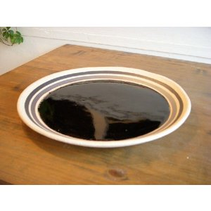 信楽焼 25cmプレート 黒釉|010gama