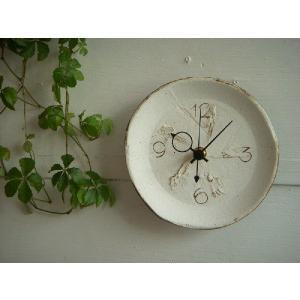 信楽焼 壁掛け時計(ホワイト)T−13S スタンド付|010gama