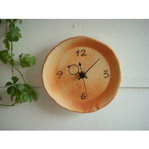 信楽焼 壁掛け時計(オレンジ)T−14S スタンド付|010gama