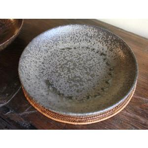 信楽焼 鈍(にび)8寸和皿|010gama