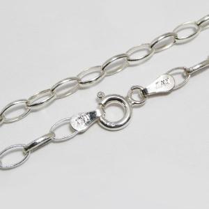 スターリング シルバー925 シルバー ネックレス チェーン特殊形状デザインチェーン 長さ50cm 太さ約3.3mm 06xy