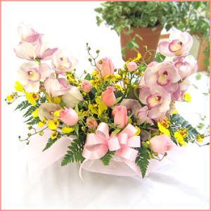 フラワーアレンジメント(ローザ) お誕生日 出産祝い 結婚記念日 お見舞い 開店祝い|087-ie
