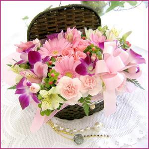 フラワーアレンジメント(コファネットピンク) お誕生日 出産祝い 結婚記念日 お見舞い 開店祝い|087-ie