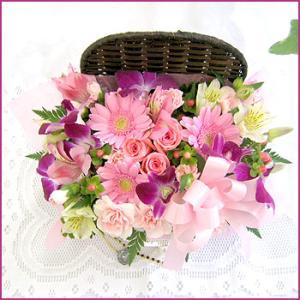 フラワーアレンジメント(コファネットピンク) お誕生日 出産祝い 結婚記念日 お見舞い 開店祝い|087-ie|02