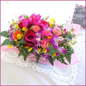 フラワーアレンジメント(カラフルアレンジ) お誕生日 出産祝い 結婚記念日 お見舞い 開店祝い|087-ie