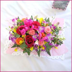 フラワーアレンジメント(カラフルアレンジ) お誕生日 出産祝い 結婚記念日 お見舞い 開店祝い|087-ie|02