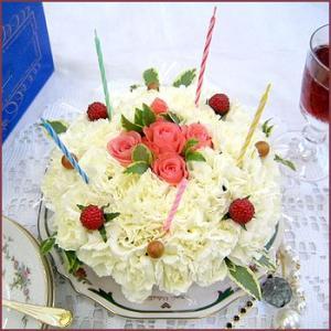 ケーキボックス入り【オリジナルフラワーケーキ】キャンドルセット 14時までのご注文で翌日お届け|087-ie