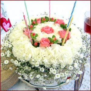 誕生日 花 サプライズ ギフト おしゃれなアレンジ スペシャルフラワーケーキ キャンドルセット ケーキボックス入り|087-ie