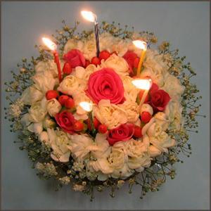 誕生日 花 サプライズ ギフト おしゃれなアレンジ スペシャルフラワーケーキ キャンドルセット ケーキボックス入り|087-ie|04