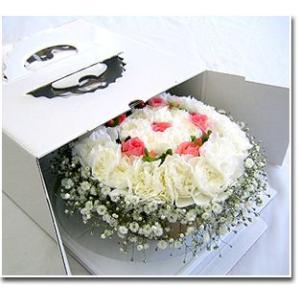 誕生日 花 サプライズ ギフト おしゃれなアレンジ スペシャルフラワーケーキ キャンドルセット ケーキボックス入り|087-ie|05