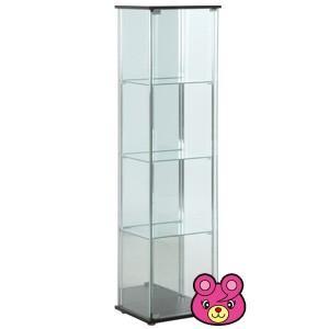 ガラスコレクションケース 4段 背面ミラー付き ブラウン /代引不可/インテリア:不二貿易a96046|09shop