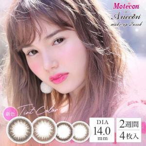 モテコン アネコン 2week 1箱4枚 Motecon/Anecon Make-up 2week 度あり/度なし メイクアップモカ メイクアップブラウン|1-d-royal