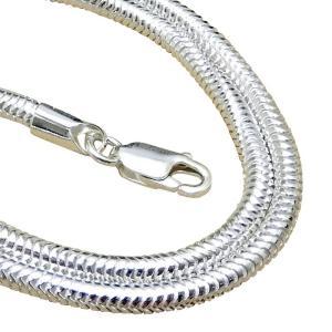 太い ネックレス メンズ シルバー925 スネークチェーン 50cm2.4mm 蛇革の質感 太め ス...