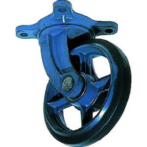 京町 鋳物製自在金具付ゴム車輪200MM|10959