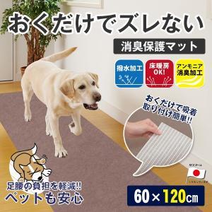 サンコー おくだけ吸着 ペットマット 消臭保護マット 60×120cm /グリーン ベージュ ブラウン/フローリング 滑り止め ペット用 犬 猫 床 保護 カーペット シート|1096dog