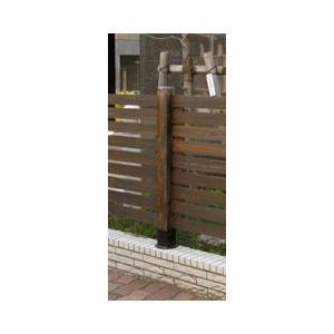 ボーダー木製フェンス用ポール(ロー)ダークブラウン74×74×950(JSBP-950DBR)|1128