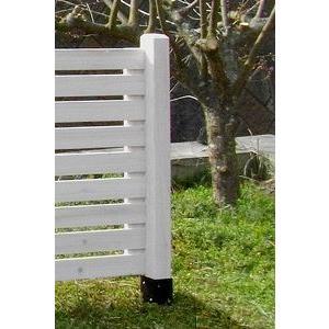 ボーダー木製フェンス用ポール(ロー)ホワイト74×74×950(JSBP-950WH)|1128