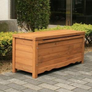 ボックスベンチストッカー 収納ボックス ガーデンファニチャー 天然木 ブラウン (BB-W90BR) 900×330×405mm|1128