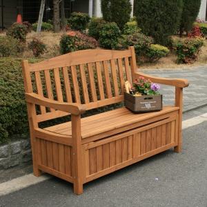 ガーデンベンチ 収納庫付 天然木 ベンチストッカー 椅子 腰掛け 中 ナチュラル おしゃれ ブラウン (JYB-120BR)124×62×88cm|1128