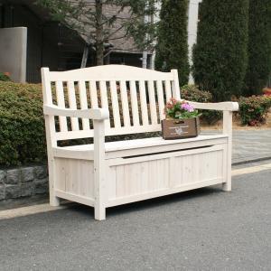 ガーデンベンチ 収納庫付 天然木 ベンチストッカー 椅子 腰掛け 中 ホワイト (JYB-120WH) 124×62×88cm|1128