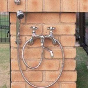 シャワープレイス用水栓金具 クロームメッキ 水栓金具(カランパイプあり) PF-S4-M(混合栓)|1128